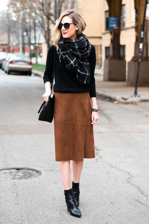 Le Fashion Blog Blogger Style Black Sweater Grid Print Scarf Brown Suede Wrap Skirt Leather Point Toe Ankle Boots Via See Anna Jane