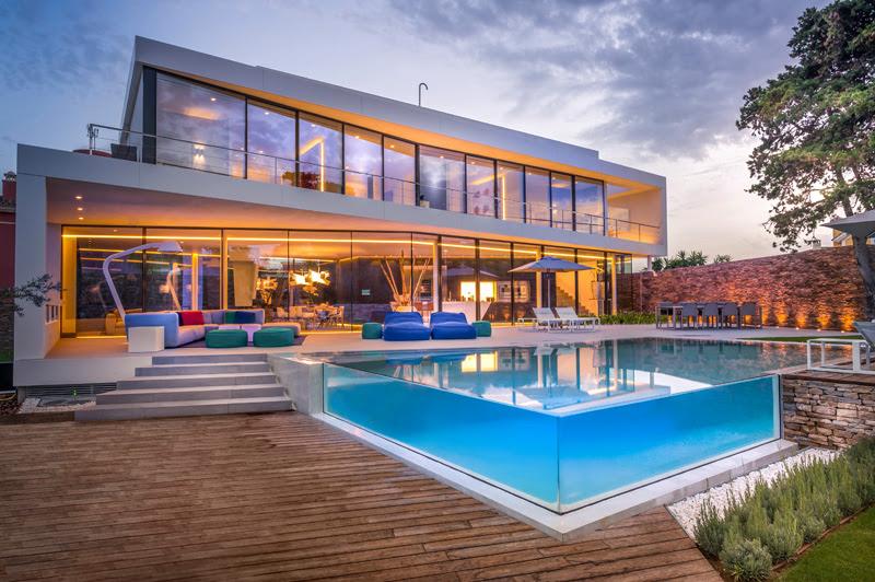 piscina de vidro temperado