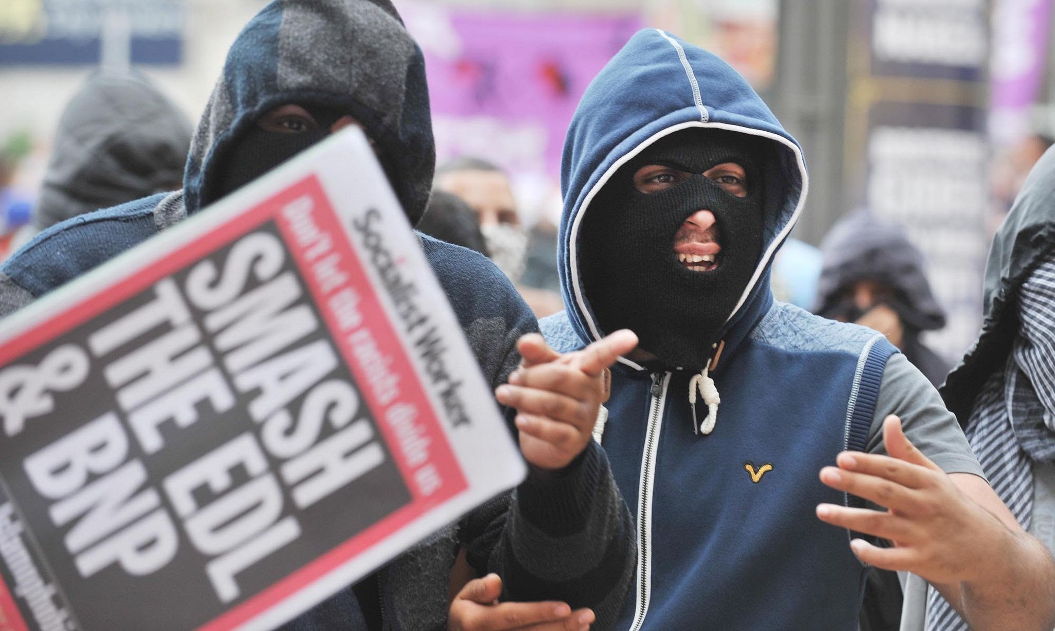Unite Against Fascism supporters at the same Birmingham demonstration shown above