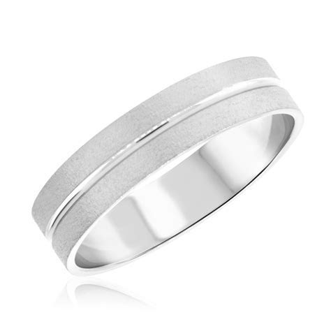 Mens Wedding Band 14K White Gold