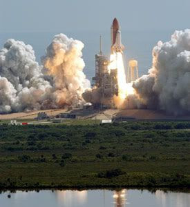 The Space Shuttle Discovery launches on STS-114... NASA's Return to Flight mission.