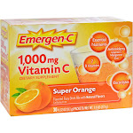 Emergen C Vitamin C, 1,000 mg, Fizzy Drink Mix, Super Orange - 30 pack, 0.32 oz packets