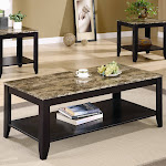 Monarch 3-Piece Faux Marble Top Coffee Table Set, Cappuccino