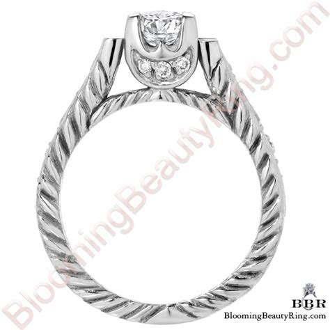 Rope Style Shank Engagement Ring with Diamond Accented U
