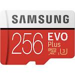 Samsung EVO Plus MB-MC256G MicroSDXC 256 GB Memory Card with MicroSDXC to SD Adapter - UHS-I U3/Class 10