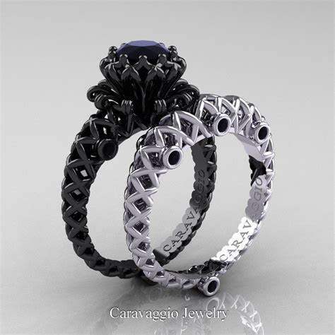 Caravaggio Lace 14K Black and White Gold 1.0 Ct Black
