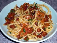 Pasta with roast tomato, chorizo and parsley sauce