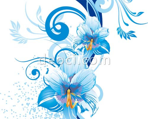 Vector Blue Flowers Background Design Material Deoci Com Vector