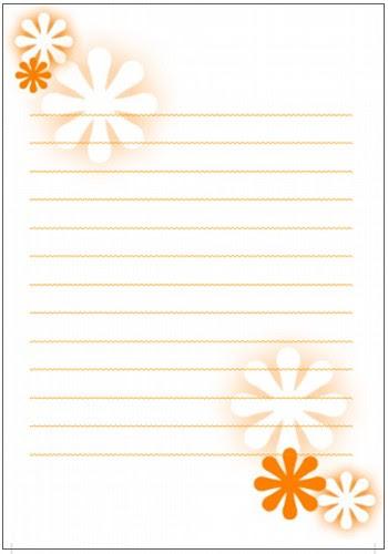 便箋 花1 オレンジ 印刷して使える可愛い便箋だけ