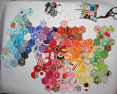 dqs9 hexies, wip 2/ OR spot the crazy eyed bunny