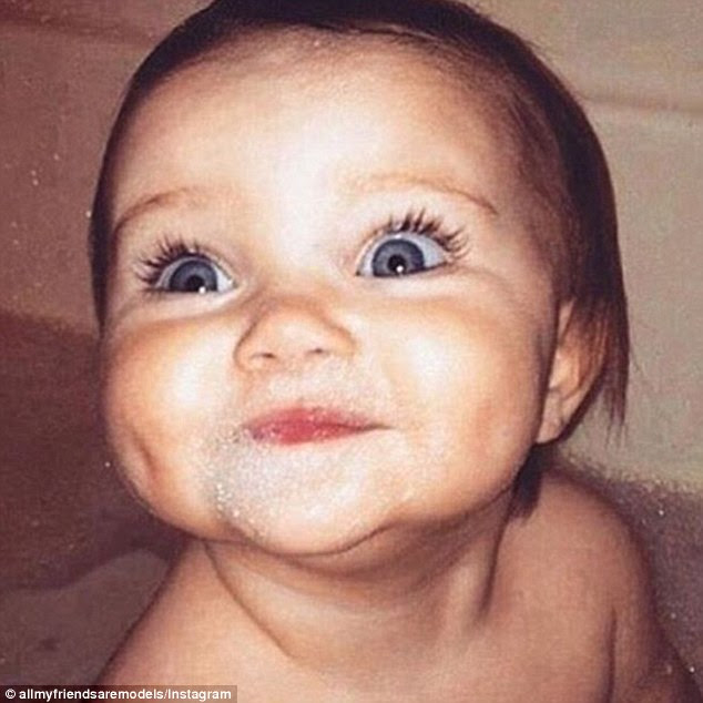 Cherubic: As a baby, Miranda Kerr, now 32, flashes her doe eyes, an infectious smile and dimples for which she has become synonymous on the catwalk today