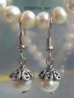 Wire Wrapped Pearl Earring