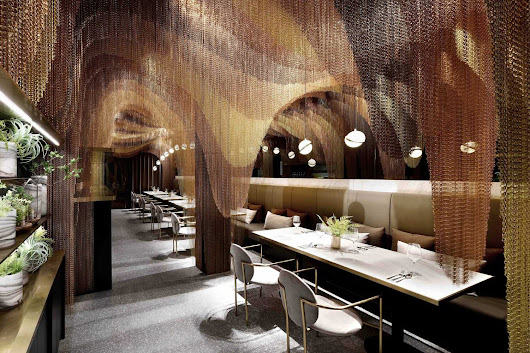 The Luxurious Interior of the Icha Chateau by Spacemen in Shanghai features over 34 000 meters of Undulating Gold Chains