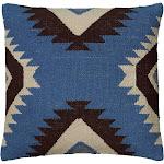 "Blue/Black Southwestern Stripe Throw Pillow 18""x18"" - Rizzy Home"