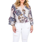 Standards & Practices Plus Size Miley Floral Tiered-Sleeve Wrap Top, 1X