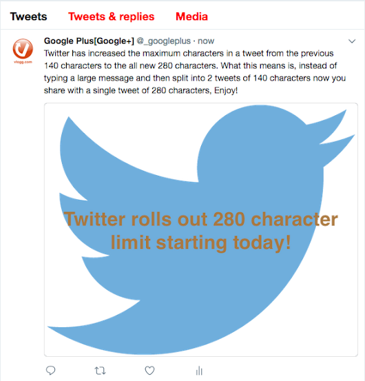 Twitter rolls out 280 character limit in tweets today! • vlogg.com