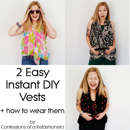 2 easy instant DIY vests ~ Confessions of a Refashionista