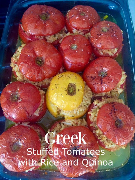 Greek Stuffed Tomatoes with Quinoa and Rice - California Greek Girl