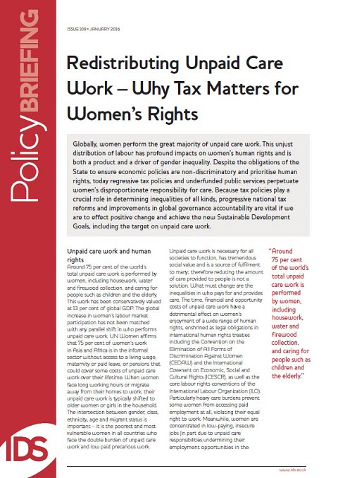Redistributing Unpaid Care Work – Why Tax Matters for Women's Rights