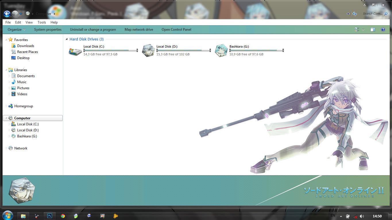 [Theme Win 7] Sword Art Online II GGO Sinon By Bashkara