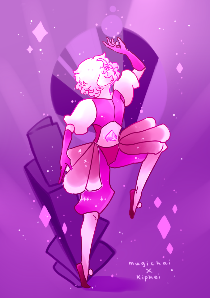 """Pink Diamond collab piece with @kiphei - color and bg by myself, lines done by Kip! Super fun to finally do a real collab with you! """