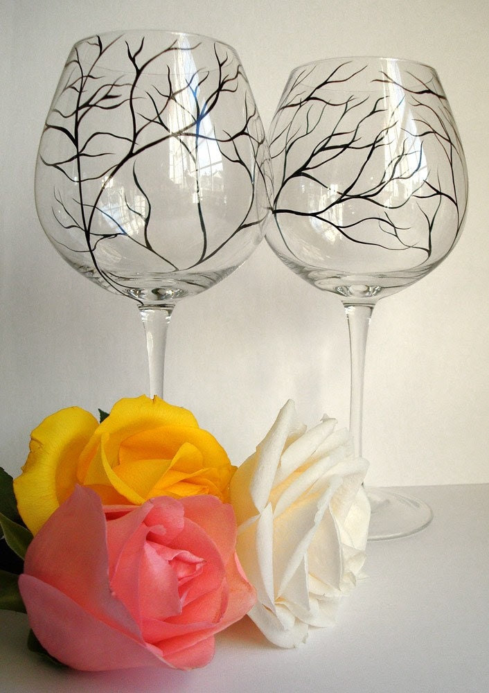 Mouth Blown Merlot Wine Glasses