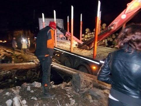 FOTO VIDEO Sat izolat după ce un camion cu bușteni a rupt un podeț de pe DJ 174E