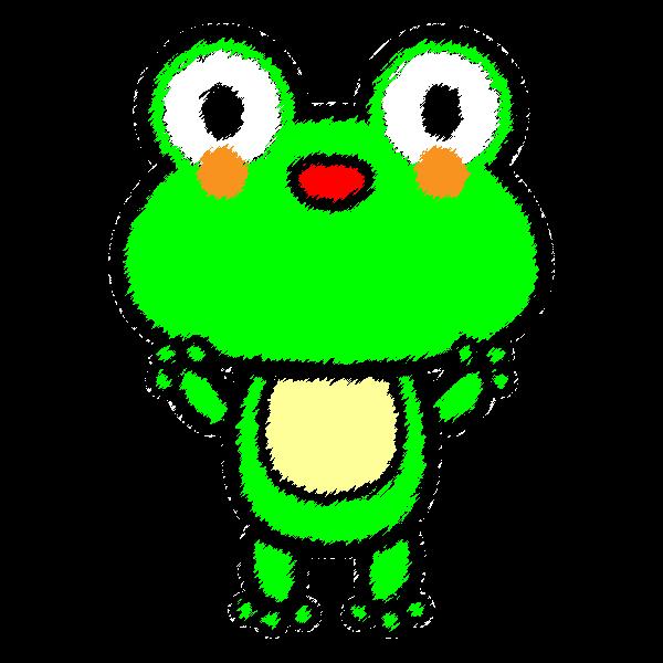 手書き風でかわいいカエルの無料イラスト商用フリー オイデ43