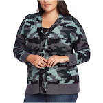 VINCE CAMUTO Womens Green Camouflage Long Sleeve With Buttons Sweater