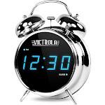 Victrola 50's, 80's & Today Digital Twin Bell - Alarm clock - electronic - desktop - high-gloss chrome finish