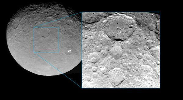 An image (inset) of the dwarf planet Ceres that was taken by NASA's Dawn spacecraft from a distance of 3,200 miles (5,100 kilometers), on May 23, 2015.