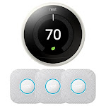 Google Nest Learning Thermostat 3rd Gen (White) w/ 3-Pack Nest Protect