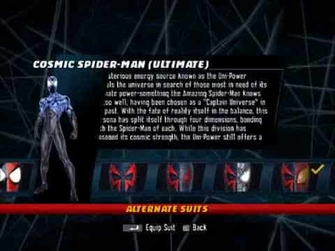 Spider-Man: Shattered Dimension-All Costumes