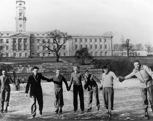 Students skating on the frozen lake, University Park, Nottingham, 1940s. The University of Nottingham received its University Charter, which permit… | Nottingh…