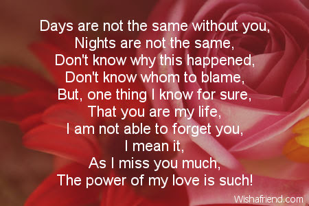 Days Are Not Same Missing You Poem