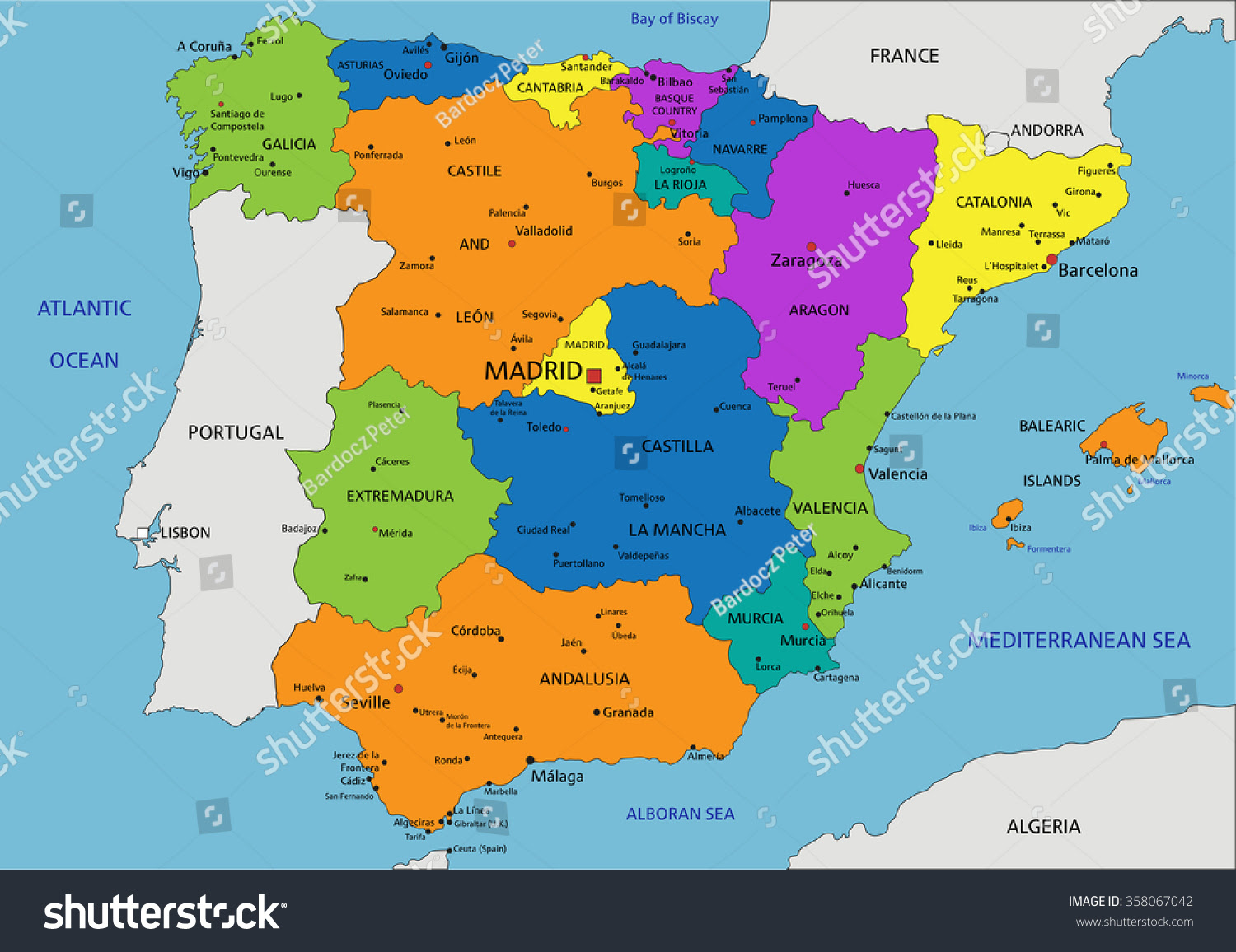Colorful Spain Political Map Clearly Labeled Stock Vector