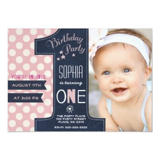 First Birthday Party Invitation Girl Chalkboard