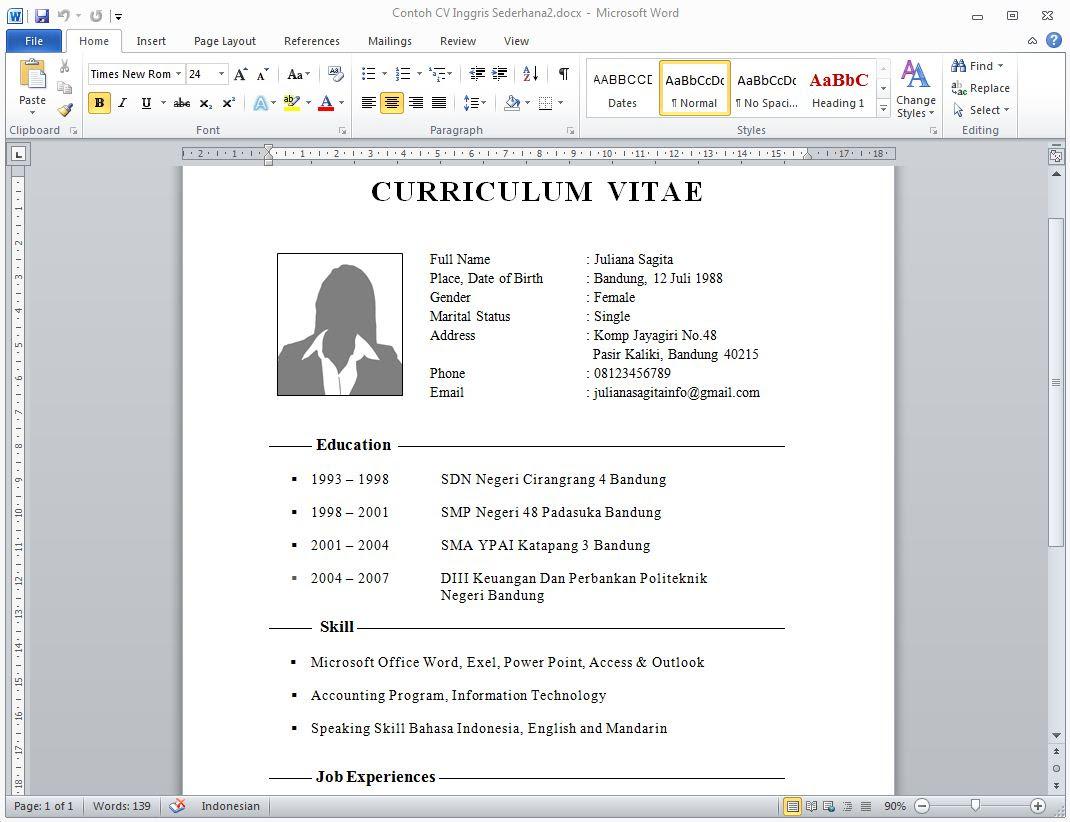 Format Curriculum Vitae Dalam Bahasa Inggris Sample Customer Service Resume