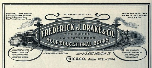 Ornate Letterhead from Frederick J.Drake (Publishers & Manufacturers of Self Educational Books) Chicago 1904 by CharmaineZoe