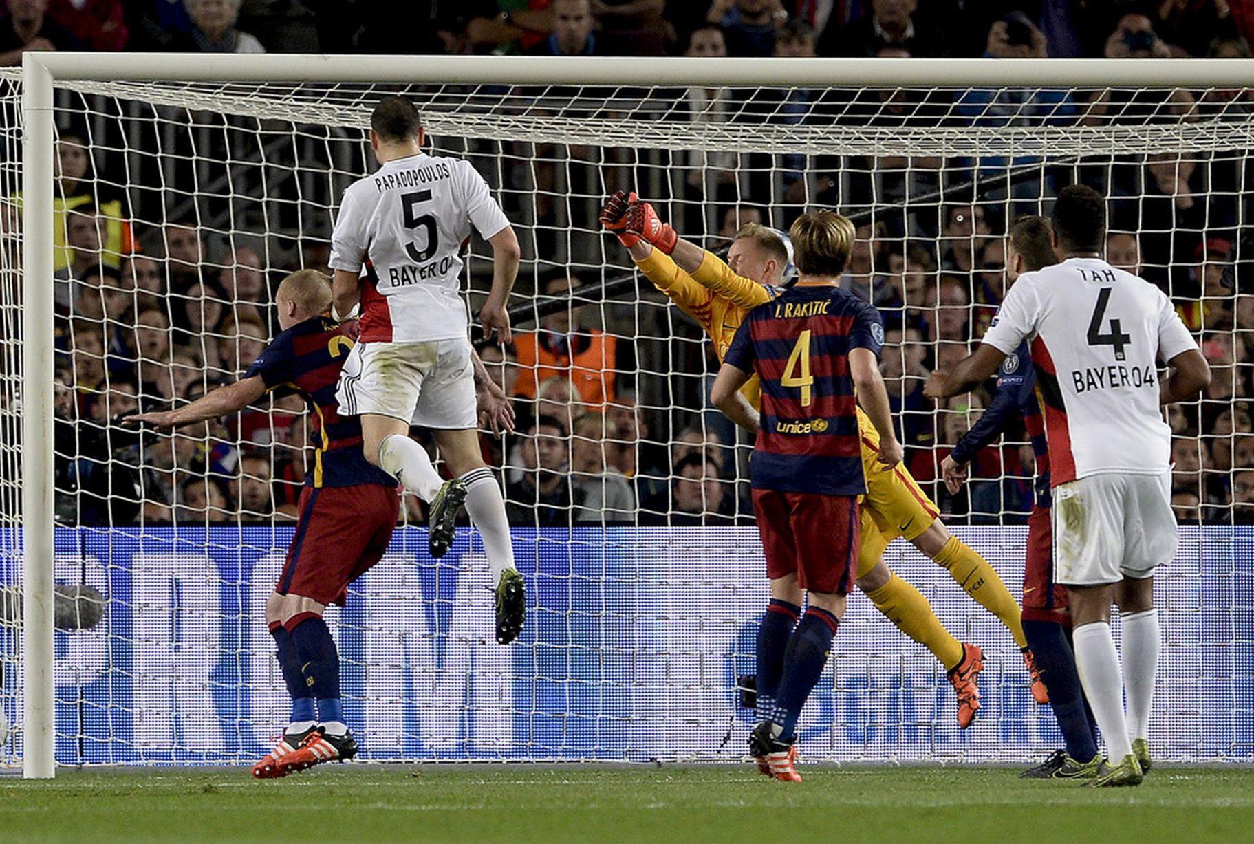 Bayer Leverkusen's Greek defender Kyriakos Papadopoulos heads the ball to score the first goal