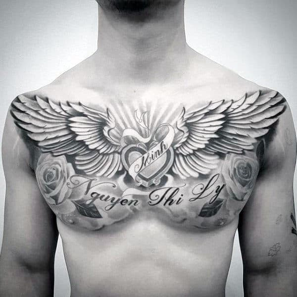 40 Wing Chest Tattoo Designs For Men Freedom Ink Ideas
