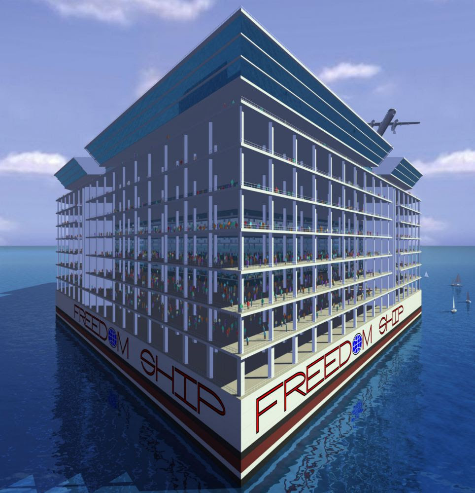 The vessel, concept pictured, is just an idea at the moment until the Florida-based designers can raise at least $1 billion to start construction.