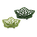 """Diva at Home Set of 2 Green Leaf Shaped Cutout Decorative Table Dishes 13.5"""" 32598123"""