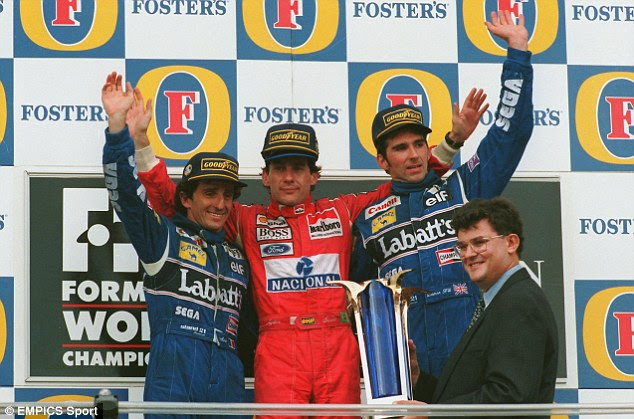 Fierce rivalry: Alain Prost (left) and Ayrton Senna (centre) were driven by each other