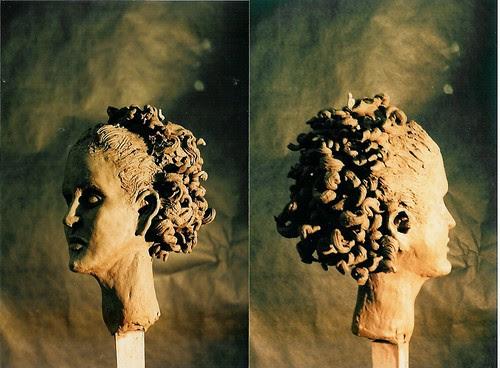 earthenware clay head by Tiffany Gholar