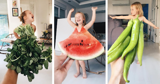 "Mom Uses Optical Illusion to ""Dress"" Her Daughter in Fabulous Food Fashion"