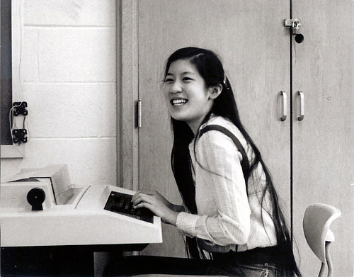 Angela at the teletype