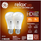 GE Relax Light Bulbs, LED, Soft White, 6 Watts - 2 bulbs