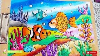 Download Cara Mewarnai Gradasi Pemandangan Bawah Laut Dengan Crayon