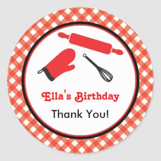 Cooking Birthday Favor Sticker